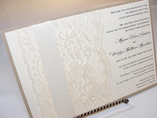 Lace Wedding Invitation, Lace Weddng Invite, Wedding Invitation, Wedding Invite, Lace Invite, Lace Invitation JANET - RUSTIC