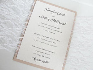 Lace Wedding Invitation, Wedding Invitation, Elegant Wedding Invite, Rustic Wedding Invitation, Blush Wedding Invitation, LACE SOLID -DOUBLE