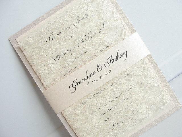 Lace Wedding Invitation, Wedding Invitation, Elegant Wedding Invite, Rustic Wedding Invitation, Blush Wedding Invitation, LACE SOLID -TRIPLE