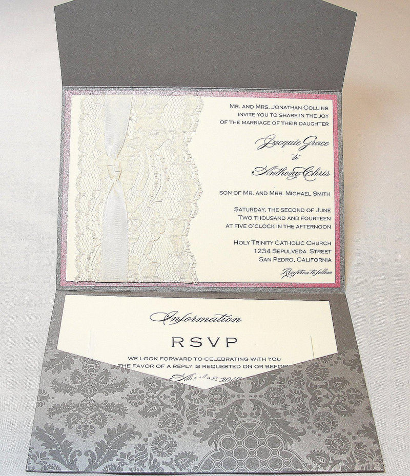 Lace Wedding Invitations, Lace Wedding Invite, Wedding Invitations, Wedding Invite, Floral Invite, Vintage Invitation ANKA - GREY
