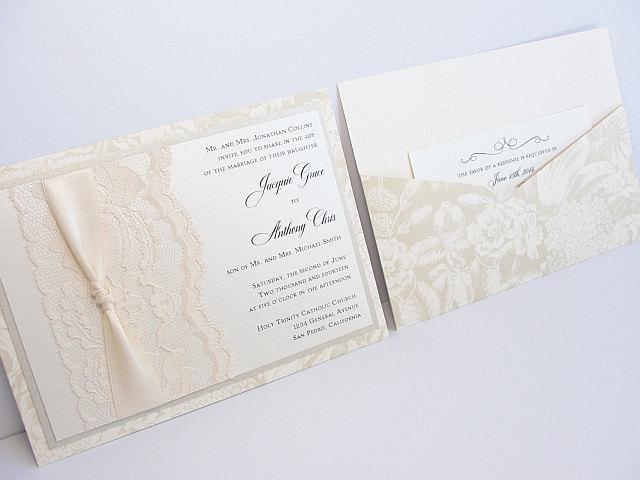 Lace Wedding Invitations, Lace Wedding Invite, Wedding Invitations, Wedding Invite, Floral Invite, Vintage Invitation BONNIE - LANDSCAPE
