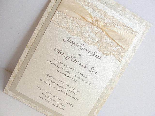 Lace Wedding Invitations, Lace Wedding Invite, Wedding Invitations, Wedding Invite, Floral Invite, Vintage Invitation BONNIE - VERTICAL