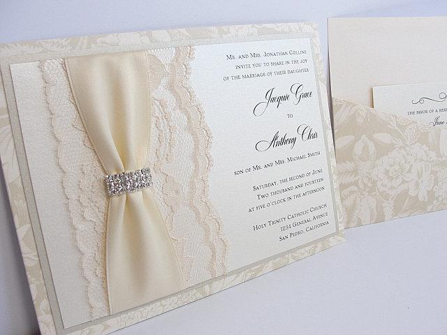 Lace Wedding Invitations, Lace Wedding Invite, Wedding Invitations, Wedding Invite, Floral Invite, Vintage Invitation CONNIE - HORIZONTAL