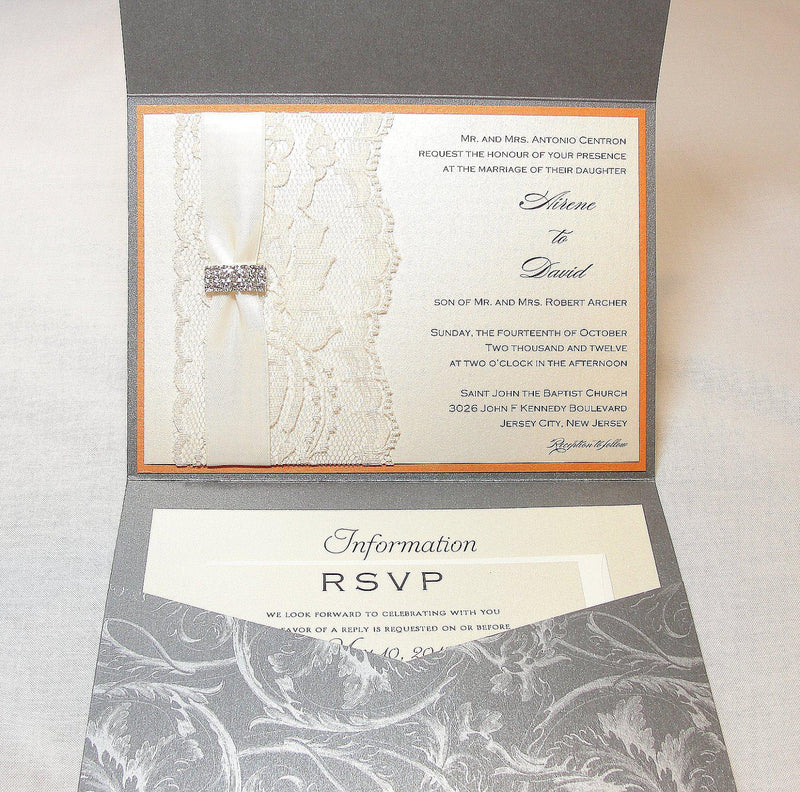 Lace Wedding Invitations, Lace Wedding Invite, Wedding Invitations, Wedding Invite, Floral Invite, Vintage Invitation DESIREE - GREY