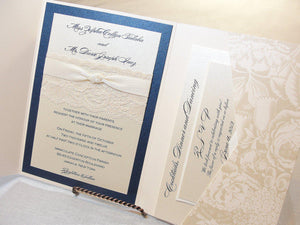 Lace Wedding Invitations, Lace Wedding Invite, Wedding Invitations, Wedding Invite, Floral Invite, Vintage Invitation HAYLEY - BLOOM NAVY