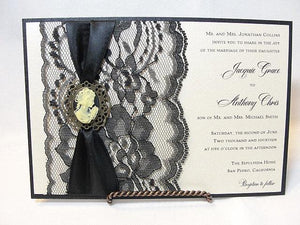 Lace Wedding Invite, Lace Wedding Invitation, Lace Invite, Lace Invitation, Lady Cameo Invite,VICTORIA - LADY HORIZONTAL