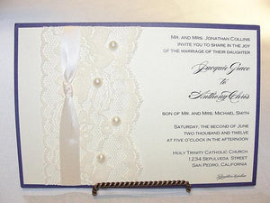 Lace Wedding Invite, Lace Wedding Invitation, Lace Invite, Lace Invitation, Pearl Invitation, Pearl Wedding Invite, DIANA