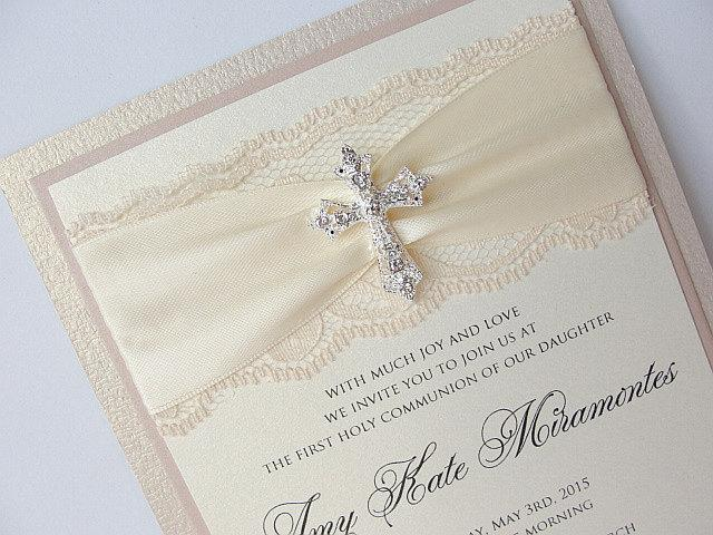 Lace Wedding Invite, Lace Wedding Invitation, Lace Invite, Vintage Invitation,  Communion Invite, Baptism Invitation, COMMUNION - TRIPLE
