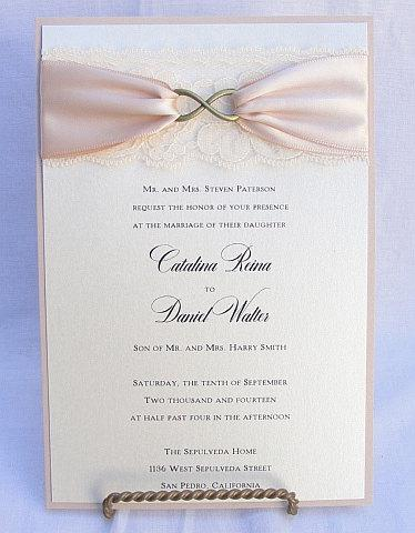 Lace Wedding Invite, Lace Wedding Invitation, Lace Invite, Vintage Invitation,  Lace Invitation, Infinity Symbol,INFINITY - BRONZE VERTICAL