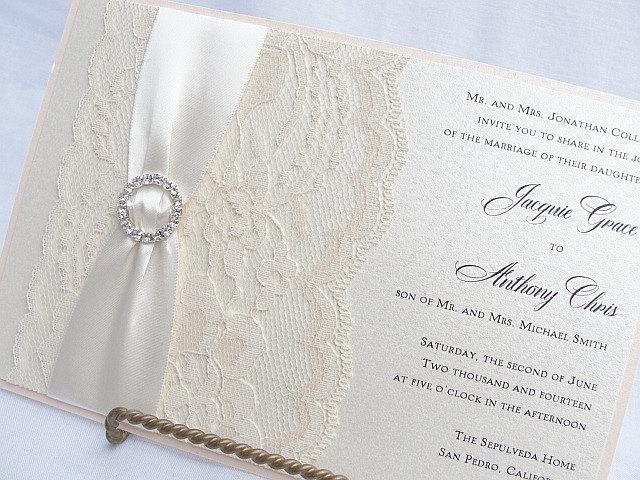 Lace Wedding Invite, Lace Wedding Invitation, Lace Invite, Vintage Invitation, Lace Invitation, Ivory Lace Invite LENA - CIRCLE
