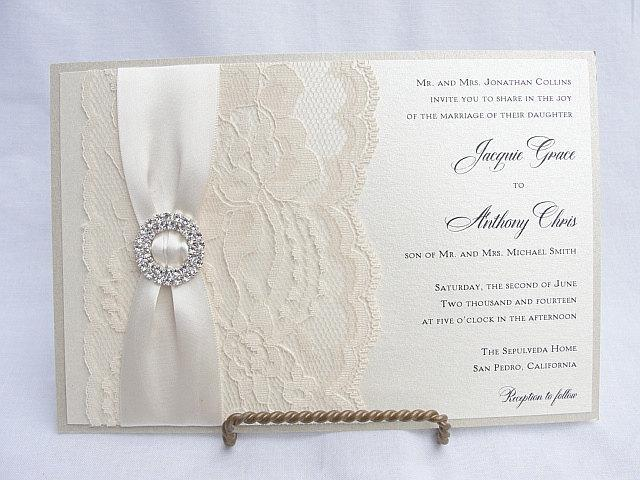 Lace Wedding Invite, Lace Wedding Invitation, Lace Invite, Vintage Invitation, Lace Invitation, Ivory Lace Invite LENA - DOUBLE CIRCLE
