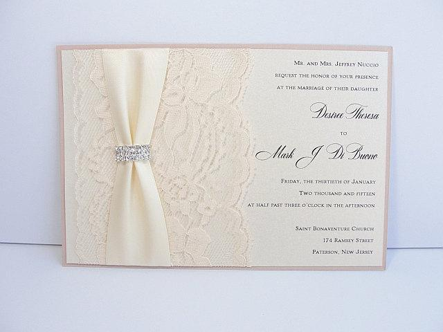 Lace Wedding Invite, Lace Wedding Invitation, Lace Invite, Vintage Invitation,  Lace Invitation, Ivory Lace Invite, LENA - HORIZONTAL IVORY