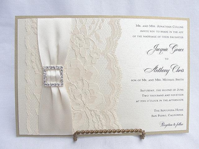 Lace Wedding Invite, Lace Wedding Invitation, Lace Invite, Vintage Invitation, Lace Invitation, Ivory Lace Invite LENA - SQUARE