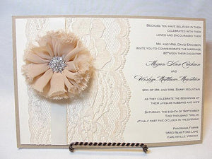 Lace Wedding Invite, Lace Wedding Invitation, Lace Invite, Vintage Invitation,  Lace Invitation, Ivory Lace Invite,ALEXANDRA