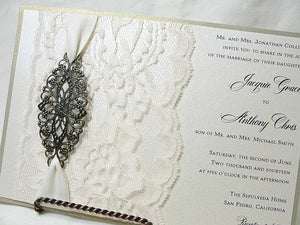 Lace Wedding Invite, Lace Wedding Invitation, Lace Invite, Vintage Invitation,  Lace Invitation, Ivory Lace Invite,FILIGREE - LARGE