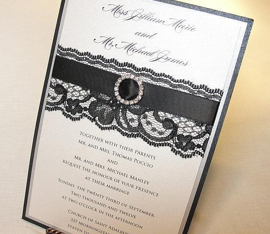Lace Wedding Invite, Lace Wedding Invitation, Lace Invite, Vintage Invitation,  Lace Invitation, Ivory Lace Invite,JUSTINE - THIN RIBBON