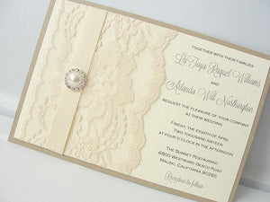 Lace Wedding Invite, Lace Wedding Invitation, Lace Invite, Vintage Invitation,  Lace Invitation, Pearl Invitation, AVA - HORIZONTAL