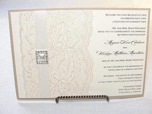 Lace Wedding Invite, Lace Wedding Invitation, Lace Invite, Vintage Invitation, Lace Invitation, Pearl Invitation, AVA - SQUARE