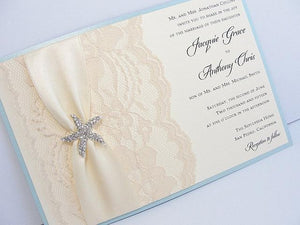 Lace Wedding Invite, Lace Wedding Invitation, Lace Invite, Vintage Invitation,  Nautical Invitation, Starfish Invitation, STAR - LANDSCAPE