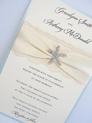 Lace Wedding Invite, Lace Wedding Invitation, Lace Invite, Vintage Invitation,  Nautical Invitation, Starfish Invitation, STAR - PORTRAIT