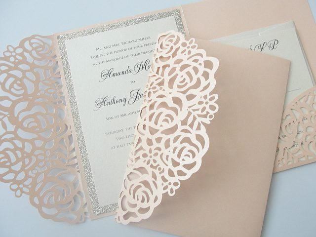 Laser Cut Pocketfold Wedding Invitation, Pocketfold Wedding Invite, Lace Wedding Invitation, LASER POCKETFOLD 1 GLITTER Coral Blush
