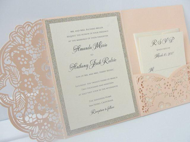 Laser Cut Pocketfold Wedding Invitation, Pocketfold Wedding Invite, Lace Wedding Invitation, LASER POCKETFOLD 2 GLITTER Coral Blush