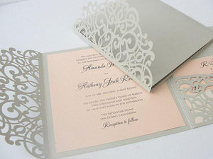Laser Cut Pocketfold Wedding Invitation, Pocketfold Wedding Invite, Lace Wedding Invitation, LASER POCKETFOLD SQUARE 3 Light Silver