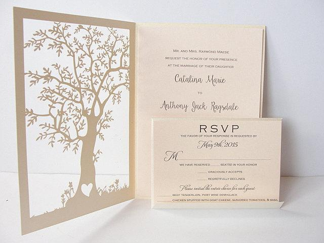 Laser Cut Tree Wedding Invitation, Fall Wedding Invitation, Tree Wedding Invite, Rustic Wedding Invitation, Autumn Wedding TREE - 2 IVORY
