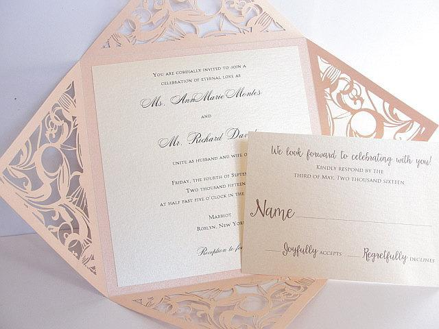 Laser Cut Wedding Invitation, Blush Wedding Invite, Lace Wedding Invite, Bohemian Wedding Invitation, SQUARE - 1 BLUSH