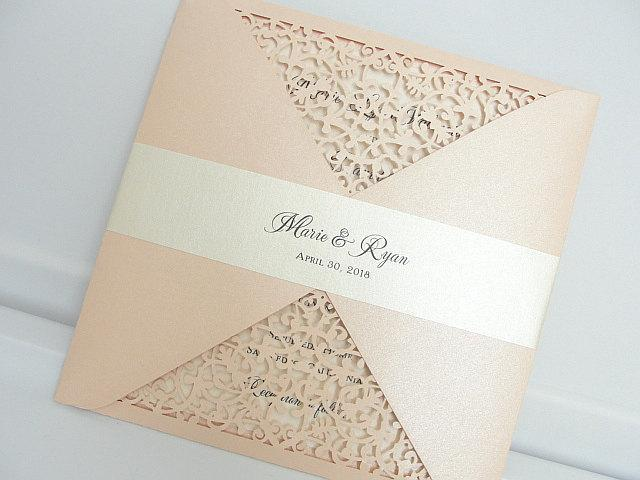 Laser Cut Wedding Invitation, Blush Wedding Invite, Lace Wedding Invite, Floral Invitation, Bohemian Wedding Invitation, FOLDER-BLUSH