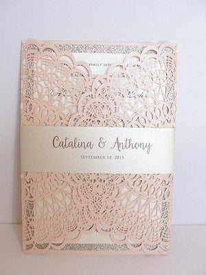 Laser Cut Wedding Invitation, Doily Laser Cut Wedding Invite, Bohemian Wedding Invite, Doily Wedding Invitation, DOILY 1 - BLUSH GLITTER
