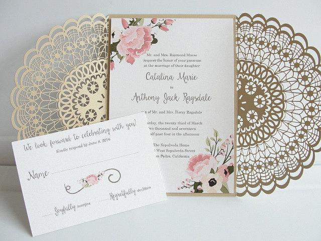 Laser Cut Wedding Invitation, Doily Laser Cut Wedding Invite, Bohemian Wedding Invite, Doily Wedding Invitation, DOILY 1 - GOLD FLORAL