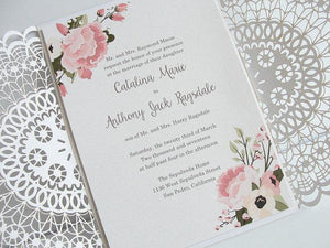 Laser Cut Wedding Invitation, Doily Laser Cut Wedding Invite, Bohemian Wedding Invite, Doily Wedding Invitation, DOILY 1 - WHITE FLORAL