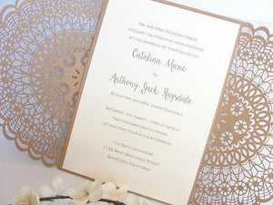 Laser Cut Wedding Invitation, Doily Laser Cut Wedding Invite, Bohemian Wedding Invite, Rustic Wedding Invitation, DOILY 1 - KRAFT