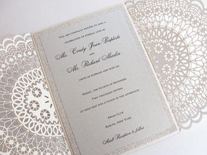 Laser Cut Wedding Invitation, Doily Laser Wedding Invite, Bohemian Wedding Invite, Doily Wedding Invitation, DOILY 1 - Silver FOIL GLITTER