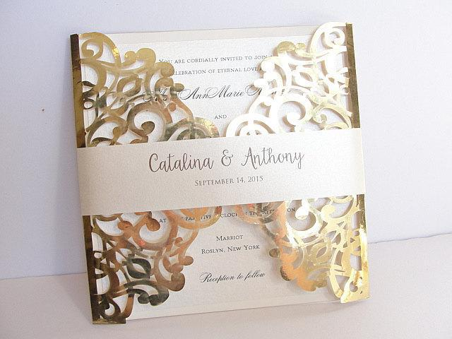 Laser Cut Wedding Invitation, Gold Foil Wedding Invite, Lace Wedding Invite, Bohemian Wedding Invitation, SQUARE - 2 GOLD FOIL