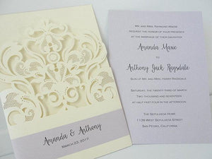Laser Cut Wedding Invitation, Lace Laser Cut Wedding Invite, Boho Wedding Invite, Bohemian Wedding Invitation, ROYALTY - CREAM
