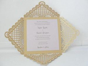 Laser Cut Wedding Invitation, Lace Laser Cut Wedding Invite, Doily Wedding Invite, Bohemian Wedding Invitation, DOILY WRAP - GOLD