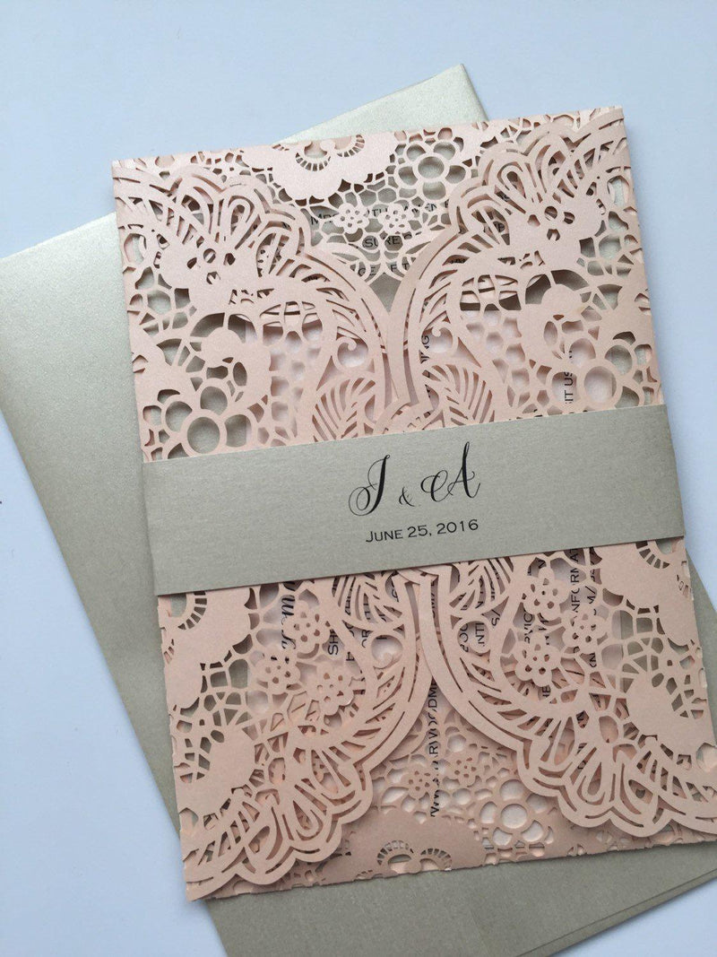 Laser Cut Wedding Invitation, Lace Laser Cut Wedding Invite, Lace Wedding Invite, Bohemian Invitation, LATTICE - 3 BLUSH