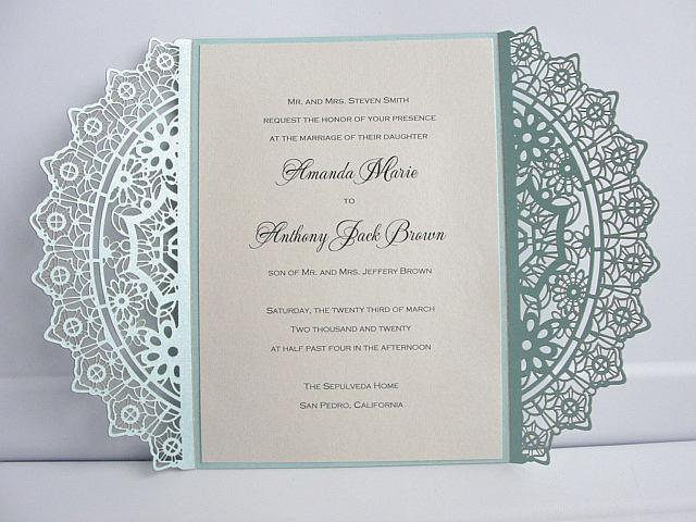 Laser Cut Wedding Invitation, Lace Laser Cut Wedding Invite, Lace Wedding Invite, Bohemian Wedding Invitation, GRACE