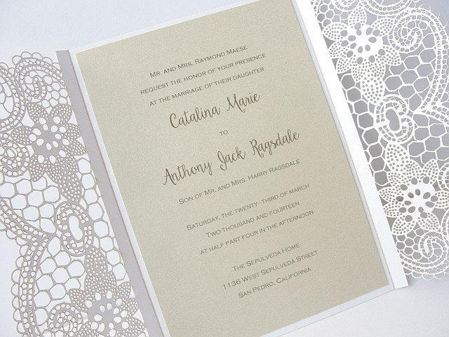 Laser Cut Wedding Invitation, Lace Laser Cut Wedding Invite, Lace Wedding Invite, Bohemian Wedding Invitation, LACE - 1 WHITE