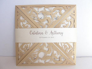 Laser Cut Wedding Invitation, Lace Laser Cut Wedding Invite, Lace Wedding Invite, Bohemian Wedding Invitation, SQUARE - 1 GOLD