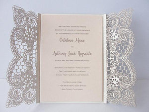 Laser Cut Wedding Invitation, Lace Laser Cut Wedding Invite, Lace Wedding Invite, Gold Wedding Invitation, LACE - 1 GOLD FOIL