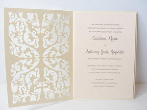Laser Cut Wedding Invitation, Lace Laser Cut Wedding Invite, Lace Wedding Invite, Rustic Wedding Invitation, LACE - 2 IVORY