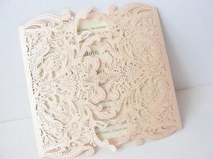 Laser Cut Wedding Invitation, Lace Laser Cut Wedding Invite, Lace Wedding Invite, Rustic Wedding Invitation, LACE - 3 BLUSH