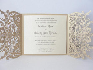 Laser Cut Wedding Invitation, Lace Laser Cut Wedding Invite, Lace Wedding Invite, Rustic Wedding Invitation, LACE - 3 GOLD
