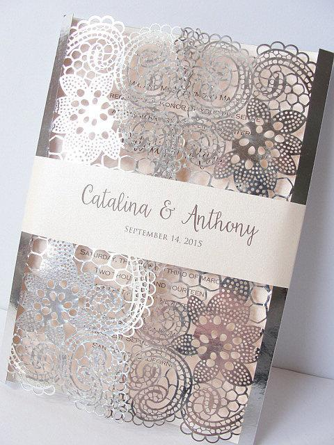 Laser Cut Wedding Invitation, Lace Laser Cut Wedding Invite, Lace Wedding Invite, Silver Wedding Invitation, LACE - 1 SILVER FOIL