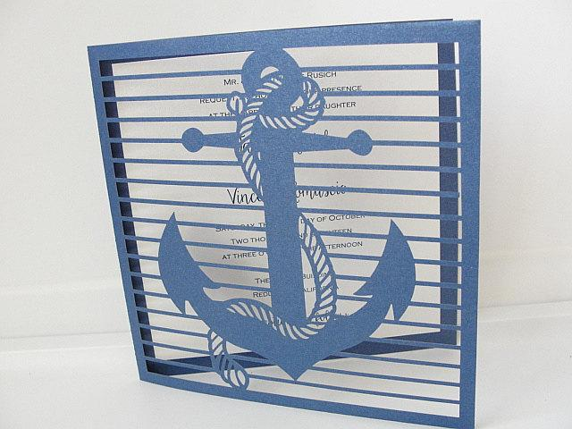 Laser Cut Wedding Invitation, Nautical Laser Cut Wedding Invite, Anchor Wedding Invite, Nautical Wedding Invitation, ANCHOR - NAVY