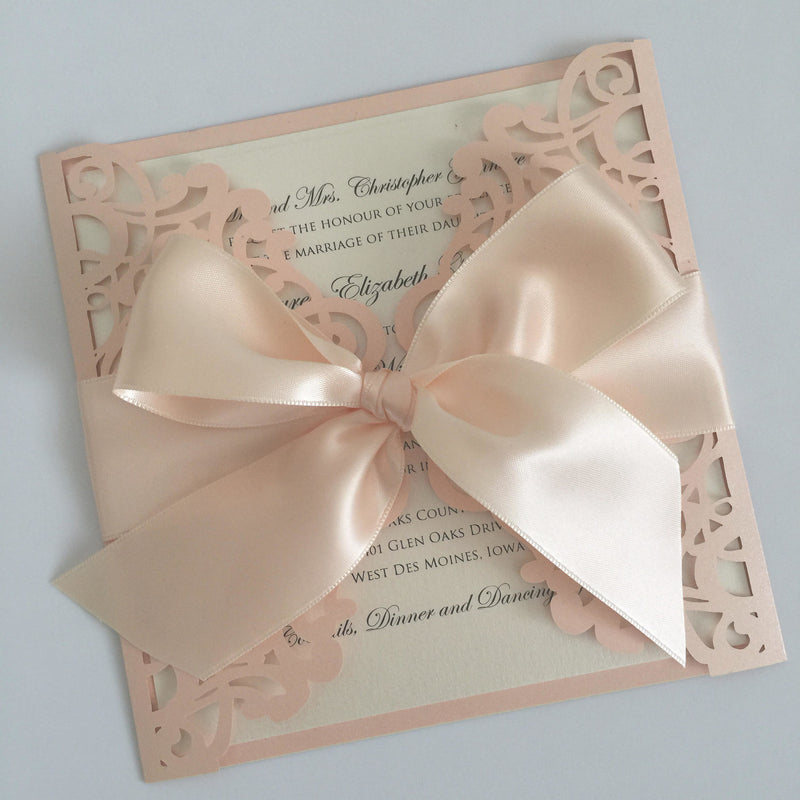 Laser Cut Wedding Invitation, Romantic Wedding Invite, Lace Wedding Invite, Elegant Wedding Invitation SQUARE - 2 CORALBLUSH BOW