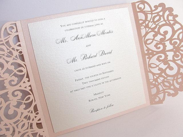 Laser Cut Wedding Invitation, Rustic Wedding Invite, Lace Wedding Invite, Bohemian Wedding Invitation, SQUARE - 2 BLUSH